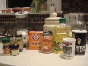Flour, sugar, salt, vegetable oil, baking powder, baking soda, pumpkin, eggs, cinnamon, nutmeg, ginger, cloves
